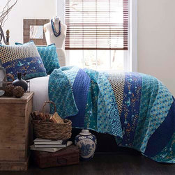 Lush Decor - Royal Empire Peacock Three-Piece Full and Queen Quilt Set - - This colorful 3 pc 100% cotton quilt set is loaded with color and works both in a contemporary or traditional room. It has printed pieced fabrics on one side and a full print on the other. A perfect weight for all year round use  - Set Includes: 1 Quilt and 2 shams  - Sham: 20-Inch H x 26-Inch W  - Care Instructions: Machine wash cold Lush Decor - C12765P13-000