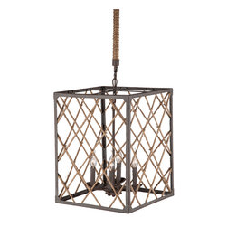Zuo Modern Contemporary, Inc. - Shale Ceiling Lamp Twine & Iron - If you're a fan of shark cages, you'll love the Shale Ceiling Lamp. Iron fixtures are surrounded by twine tied in geometric patterns. Casts intriguing shadows over the walls of a dim room while also lighting the space.
