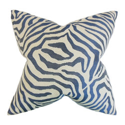 """The Pillow Collection - Oluchi Zebra Print Pillow, Marine, 18""""x18"""" - This whimsical safari-inspired throw pillow will set your living space free."""