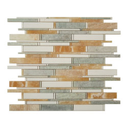 "Euro Glass - Cascade Honey Onyx  Ming Green & Thassos White Mix  Random Bricks Green Kitchen - Can be cut every 6 rows to make a continuous border.       Sheet size:  12 1/2"" x 12 1/2""        Tile Size:  Random Bricks 1/8""x 4"" - 3/4"" x 4""        Tiles per sheet:  132        Tile thickness:  3/8""        Grout Joints:  1/8""        Sheet Mount:  Mesh Backed        Stone tiles have natural variations therefore color may vary between sheets.       Sold by the sheet    -"