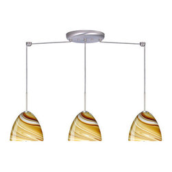 Besa Lighting - Besa Lighting 3BB-7572HN Sasha II 3 Light Linear Pendant - Sasha II has a classical bell shape that complements aesthetic, while also built for optimal illumination. This unique decor is handcrafted, with layered swirls of yellow-amber and golden-brown against white, finished to a high gloss. It's classic swirl pattern and high gloss surface has a truly florid gleam. Honey is a hand-blown glass designed to have a shiny and polished finish. The glass is gathered and rolled into shape a unique pattern is formed that cannot be replicated. This blown glass is handcrafted by a skilled artisan, utilizing century-old techniques passed down from generation to generation. Each piece of this decor has its own unique artistic nature that can be individually appreciated. The cord pendant fixture is equipped with three (3) 10' SVT cordsets and a 3-light linear canopy, two (2) suspension stemhooks included.Features: