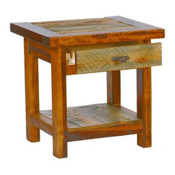 Mountain Woods Furniture - Rustic Tables Reclaimed Wood End Table with Drawer, Barnwood - Rustic  End  Tables  for  the  Eco-Conscious  Homeowner          Rustic  wood  tables,  handcrafted  in  the  U.S.  by  skilled  artisans  and  finished  to  highlight  the  natural  colors  and  textures.  This  beautiful  end  table  includes  a  drawer  so  you  can  stash  your  remote,  a  few  magazines,  or  even  the  chocolate  bar  you  don't  want  the  kids  to  know  you  have.  A  perfect  way  to  compliment  your  collection  of  rustic  furniture,  each  reclaimed  wood  table  in  the  Wyoming  collection  is  built  to  withstand  lots  of  use.                  Table  dimensions:  24  inches  wide  x  21  inches  long  x  24  inches  high              Made  in  USA              Lifetime  Warranty              Natural  reclaimed  barnwood              Eco-friendly              Free  curbside  delivery  within  48  contiguous  states              Allow  4-6  weeks  for  shipping                This  rustic  end  table  is  also  available  without  drawer.                         Rustic  Table  Drawer  Pull  Options                                                Bronze  Oval  Drawer  Pull                                  Aspen  Wood  Drawer  Pull                                                  Faux  Antler  Drawer  Pull                                  Tooled  Leather  Drawer  Pull