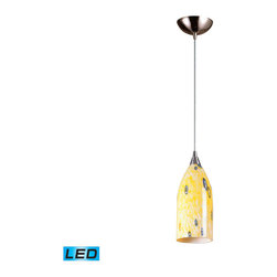 Elk Lighting - Elk Lighting Verona 1 Light Pendant in Satin Nickel & Yellow Blaze Glass - 1 Light Pendant in Satin Nickel & Yellow Blaze Glass belongs to Verona Collection by Individuality Is What Defines This Exquisite Line Of Hand Blown Glass. Each Piece Is Meticulously Hand Blown With Up To Three Layers Of Uncompromising Beauty And Style. Pendant (1)