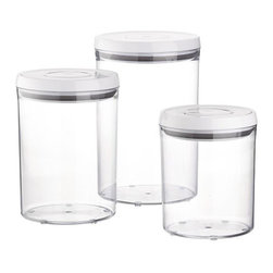 3-Piece OXO® Pop Round Containers with Lids Set - I love these clear jars because they're so versatile. I think they'd be great for storing cotton balls, Q-tips or maybe hair ties in the bathroom. They'd be great as storage for snacks and dry foods in the kitchen too.