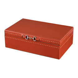 Kathy Kuo Home - Metro Rustic Lodge Vermillion Red Leather Accessory Box - Watches, wallets, money clips and keys finally find a permanent place of residence in this refined leather box. Finished in vermillion with polished nickel hardware, this convenient catch-all keeps articles separated and scratch-free.