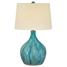 Ceramic Gourd Teal and Tan 25-Inch-H Table Lamp - Euro Style Lighting