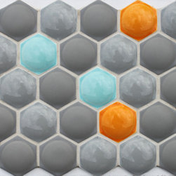 Modern Textures - Futura Collection Bubble Hex dimensional tile is a modern twist on a traditional hexagon shape. Add texture and color to any wall application.