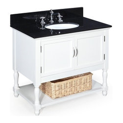 Kitchen Bath Collection - Beverly 36-in Bath Vanity (Black/White) - This bathroom vanity set by Kitchen Bath Collection includes a white cabinet, black granite countertop, undermount ceramic sink, pop-up drain, and P-trap. Order now and we will include the pictured three-hole faucet and a matching backsplash as a free gift! All vanities come fully assembled by the manufacturer, with countertop & sink pre-installed.
