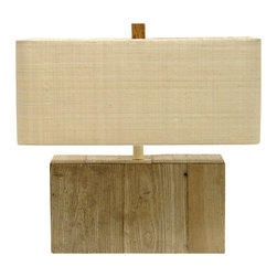 Kathy Kuo Home - Montauk Coastal Beach Recycled Rectangular Wood Lamp - Like a piece of a shipwreck from nautical lure, this repurposed driftwood lamp brings a bit of the seashore inside your home. Natural, unfinished driftwood is topped with a rectangular raffia shade and finished with a banana bark finial.