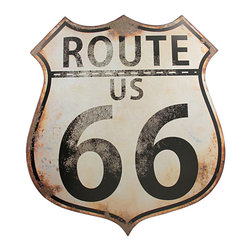 Distressed Finish US Route 66 Metal Wall Sign Highway - U.S. Route 66 (also known as the Mother Road) is one of the most famous roads in America. It originally ran from Chicago, Illinois, through Missouri, Kansas, Oklahoma, Texas, New Mexico, Arizona, and California, before ending at Los Angeles, covering a total of 2,448 miles. This 20 inch by 18 inch Route 66 replica metal sign has an artificially distressed finish, and looks as though it stood on the side of the Mother Road for years. The sign sure is an eye-catcher, and is sure to get lots of notice and compliments. It has 2 hanger slots on the back.