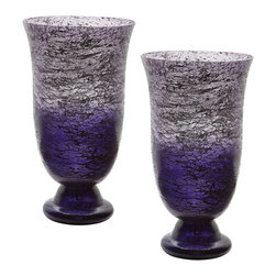 Lazy Susan - Plum Ombre Flared Vase, Set Of 2 - This Set Of 2 Plum Ombre Flared Vases Are Each Mouth Blown By A Skilled Craftsman Using Traditional Tecniques. Years Of Training Is Required Before A Craftsman Can Blow Larger Pieces. The Ombre Finish Is Hand Applied After The Glass Has Cooled And Then Delicate Silver Leaf Is Added To The Inside To Give Added Depth And Interest To The Finish.