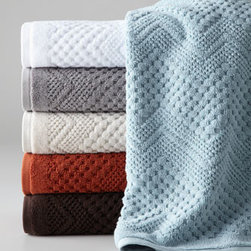 """Kassatex - Kassatex Chateau Bath Towel - Treat yourself to the royalty-worthy luxury of these towels. 650 gram. Egyptian cotton jacquard. Available in your choice of colors; please choose below. Bath towel, 30"""" x 54"""". Hand towel, 18"""" x 28"""". Face cloth, 13""""Sq. Machine wash. Imported."""