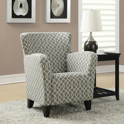 None - Grey / Beige Wave Fabric Club Chair - Get cozy in this comfortable chair featuring a curved back for support and a deeply padded seat. Designed in neutral colors with a modern lattice pattern,this elegant chair is the perfect piece for your reading corner.