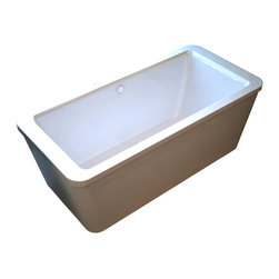 Venzi - Venzi Aquilia 32 x 67 Rectangular Freestanding Soaker Bathtub - The Aquilia model features a rectangular, minimalistic design. The rectangular setting maximizes the use of internal volume, allowing bathers to enjoy the deep soak
