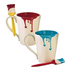 Painted Heart Mug with Spoon - We love this paint-dripped mug complete with a paint brush spoon. The perfect gift for the artist or DIYer in your home, this is one item in the house you won't mind having a little spilled paint on.