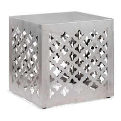 Metal accent stool Kailua - Accent stool Kailua is made of chromed stainless steel. It is very functional piece of modern Moroccan design. This stylish stool can be used as a nice side table when placed near sofa or chaise or as a separate accent table.