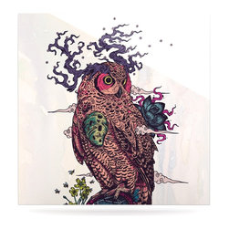 """Kess InHouse - Mat Miller """"Regrowth"""" Natural Owl Metal Luxe Panel (8"""" x 8"""") - Our luxe KESS InHouse art panels are the perfect addition to your super fab living room, dining room, bedroom or bathroom. Heck, we have customers that have them in their sunrooms. These items are the art equivalent to flat screens. They offer a bright splash of color in a sleek and elegant way. They are available in square and rectangle sizes. Comes with a shadow mount for an even sleeker finish. By infusing the dyes of the artwork directly onto specially coated metal panels, the artwork is extremely durable and will showcase the exceptional detail. Use them together to make large art installations or showcase them individually. Our KESS InHouse Art Panels will jump off your walls. We can't wait to see what our interior design savvy clients will come up with next."""