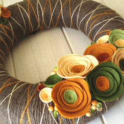 Yarn Wreath Felt Handmade Door Decoration Fall In by ItzFitz
