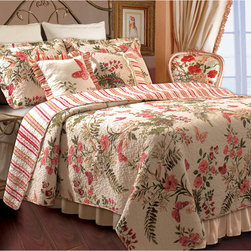 None - Butterflies Bonus 5-piece Quilt Set - Quaint country charm is yours when you place this five-piece floral quilt set on your bed. Featuring a sea of flowers and contrasting stripes,this red-and-cream set adds beauty to your bedroom. The set includes two shams,two pillows and a quilt.