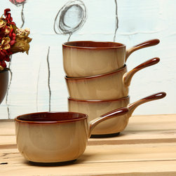 Sango - Sango Nova Brown 4-piece Onion Soup Bowl Set - Serve your guests delicious and hearty meals with this four-piece soup bowl set from Sango. With a nova-brown exterior and an off-white interior, this 16-ounce stoneware set is both microwave and dishwasher safe, making heating up and cleanup a breeze.