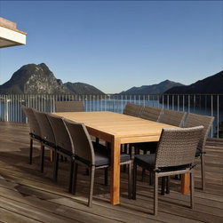 Amazonia Teak - Paula 11-piece Teak/ Wicker Outdoor Dining Set - The Paula 11-piece dining set,including one rectangular table and 11 chairs,was crafted bearing leisure in mind. Constructed of solid teak and wicker,this set is suitable to be left outdoors all year round with proper maintenance.