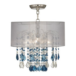 """Vienna Full Spectrum - Traditional Nicolli Blue 16"""" Wide Sheer Silver Crystal Ceiling Light - The Nicolli Blue semi-flushmount ceiling light features blue and clear crystal elements and a chrome finish frame. The four-light design offers the timeless look of a chandelier and is updated with a stylish designer sheer silver drum shade. A wonderfully refreshing designer look for your living space.  Chrome finish frame and canopy. Sheer silver drum shade. Blue and clear crystal. Semi-flushmount ceiling light. Takes four 60 watt candelabra bulbs (not included). 19"""" high. Chandelier only is 12"""" wide 10"""" high. Shade is 16"""" wide 7"""" high. Canopy is 5"""" wide. Some assembly required; instructions included.  Chrome finish frame and canopy.  Sheer silver drum shade.  Blue and clear crystal.  Semi-flushmount ceiling light.  Crystal lighting from Vienna Full Spectrum.  Takes four 60 watt candelabra bulbs (not included).  19"""" high.  Chandelier only is 12"""" wide 10"""" high.  Shade is 16"""" wide 7"""" high.  Canopy is 5"""" wide.  Some assembly required; instructions included."""