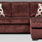 Chelsea Home - Worcester Queen Sleeper Sofa - Includes toss pillows and 4 in. inner spring mattress. Transitional style. Prism elderberry cover. Seating comfort: Medium. Kiln-dried hardwood frame. Stress points are reinforced with blocks to secure long lasting frame. Attached back cushions. Sinuous springing system manufactured with reinforced 16-gauge border wire. Double springs are used on the ends nearest the arms to give balance in the seating. Hi-density foam cores with dacron polyester wrap cushions. Made from 100% polyester. Made in USA. No assembly required. 92 in. L x 38 in. W x 38 in. H (220 lbs.)