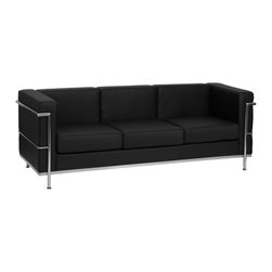 Flash Furniture - Flash Furniture Accent Chair X-GG-KB-AFOS-3-018-LAGER-BZ - This attractive black leather reception sofa will complete your upscale reception area. The design of this sofa allows it to adapt in a multitude of environments with its smooth upholstery and visible accent stainless steel frame. [ZB-REGAL-810-3-SOFA-BK-GG]