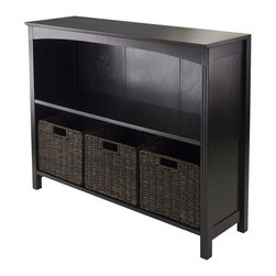 """Winsome Trading, INC. - Winsome Terrace 4-Piece Storage Shelf/Bookcase - Terrace Storage Shelf/Bookcase Collection is perfect to use alone or pair with baskets and create a place for your goodies. This 3-Tier Shelf has overall size of 37""""W x 11.8""""W x 30""""H. Top is 37""""W x 11.81""""D. Upper shelf is 34.57""""W x 10.63""""D x 12.80""""H and lower shelf is 12.32""""H. Comes with three small baskets made from corn husk 11.02""""W x 10.24""""D x 9.06""""H in chocolate color. Shelf/Bookcase is constructed from combination of solid and composite wood in Dark Espresso finish. Assembly Required."""