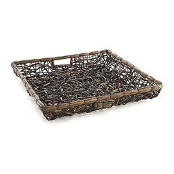 Crazy Weave Square Basket - Loopy weave makes a work of art out of natural lampakany and rattan. Handcrafted tray exhibits rustic yet refined style that's functional as well as decorative. Fantastic as a wall hanging.