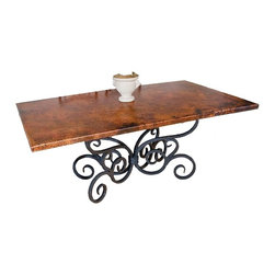 "Mathews & Company - Alexander Dining Table with 42"" x  72"" Rectangle Copper Top - This Alexander table features a 42"" x 72"" rectangle top made of recycled copper. The ornately rolled design of the hand-forged iron base will catch the eye and the imagination from across the room. Comfortably seating 6 (8 would be tight but it could work), this will be a popular gathering place for family and friends for years to come. You may choose to place your own table top on this Alexander base. Our Iron table base will support heavy marble and natural stone tops without a problem. Pictured in Copper top and Black finish."