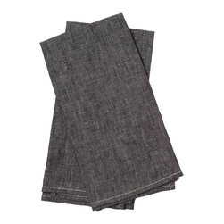 Birdkage - Monterey Tea Towels, Set of 2 - With their sun-washed black color, textured weave and chic contrasting stitching, these cotton linen tea towels have a casual feel that is straight from the American coast. Sold in sets of two, they make great napkins and will get softer with each wash.