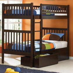 Atlantic Furniture - Arizona Twin Over Twin Bunk Bed w Flat Panel - NOTE: ivgStores DOES NOT offer assembly on loft beds or bunk beds. Includes upper and lower bunk panel, rails, clip-on ladder, 2 slats and flat panel underbed drawers. Mattress not included. Mortise and tenon joinery. 26 Steel reinforcements. Guard rails match panel design. 5 Step, high build finish. Designed for durability. Pictured in Antique Walnut finish. 1-Year manufacturer warranty. Clearance from floor without trundle or storage drawers: 11.25 in.. Bed: 78.88 in. L x 42.63 in. W x 67.13 in. H. Flat panel drawers: 74 in. L x 22 in. W x 12 in. H. Bunk Bed Warning. Please read before purchase.Are you looking for a modern bunk for your modern child, but still want to keep a semi-classic design? This bed is for you. Straight clean lines give you a modern feel, yet the rounded vertical slats let you have the traditional mission style. This hip Bunk Bed is easy to assemble and comes in three of our high build Five Step Finishes. Manufactured of Eco-friendly Hardwood giving your child the modern look they want and letting you feel good about your purchase.