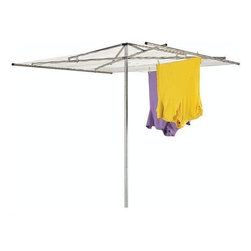 Home Decorators Collection - Standard Steel Parallel Outdoor Air Dryer - If you enjoy the smell of clothes dried outdoors or simply would like to conserve energy by not running your dryer, this outdoor clothing rack is for you. This ingenious design features a pivoting top that brings each side of the large, rectangular rack easily into reach, and it can be simply folded and collapsed for easy storage in your garage, basement or utility closet. Order yours today! Crafted of durable materials to withstand the elements and last for years to come. Galvanized steel center post will resist rust.