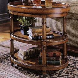 Hooker Furniture - Seven Seas 3-Tier Accent Table - Two shelves. Oval shape. Metal removable serving tray. Four turned legs with brass end caps. Levelers. Made from hardwood solids with mappa burl veneers. Height without tray: 24.13 in.. Floor to top of bottom shelf height: 4.63 in.. Floor to top of middle shelf height: 13.5 in.. Overall: 28 in. W x 20 in. D x 25.25 in. H