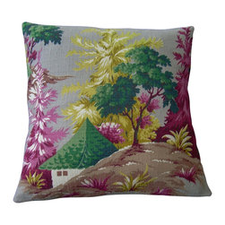 "Mid Century Home USA - Asian Pillow Cover ""Asian Morn"" - This pillow cover was made from a  medium-weight, textured barkcloth fabric from the 1950's.  Colors are vibrant and include maroon, pink, greens. gold/yellow on a soft gray background.  The back is finished in a kelly green duck cloth canvas with an envelope closure. Note:  Sized for 18"" pillow insert.  The seams are professionally serged to prevent fraying.���"
