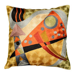 """Modern Silk - Kandinsky Pillow Cover Silk Composition VII Hand Embroidered 18"""" x 18"""" - Kandinsky Pillow Cover – The colors in this abstract composition, reminiscent of the work of influential Russian artist, Wassily Kandinsky, evoke a psychic vibration, hiding a power still unknown but deeply felt in every part of the body. The expert Kashmiri needlework in this handmade, hand worked cover is of the finest chainstitch crewel, a superlative stitch. The eye-catching design deserves to be seen and experienced. Wherever you place it, it is sure to draw attention. The Kashmir wool thread makes it soft to the touch, and the texture of the embroidery is a sensory delight. Durable and easily cared for, this cover has a back button opening for easy accessibility. This cushion cover is available on this site in other color schemes."""