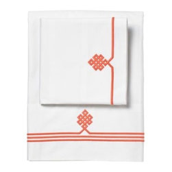 Serena & Lily - Coral Gobi Embroidered Sheet Set - The embroidery on these Gobi sheets represents the Buddhist knot of wisdom. They come in lots of great colors, like this coral.