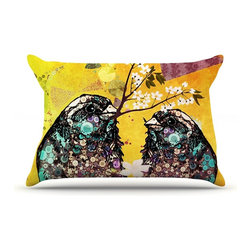 """Kess InHouse - alyZen Moonshadow """"Birds In Love Yellow"""" Orange Gold Pillow Case, King (36"""" x 20 - This pillowcase, is just as bunny soft as the Kess InHouse duvet. It's made of microfiber velvety fleece. This machine washable fleece pillow case is the perfect accent to any duvet. Be your Bed's Curator."""