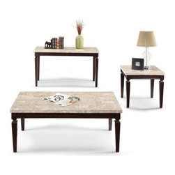 """ACMACM80480 - Agatha White Beige Marble Top Coffee Table with Stylish Legs - Agatha white beige marble top coffee table with stylish legs . Measures 48"""" x 24"""" x 20"""" H. End table sold separately. Some assembly required."""