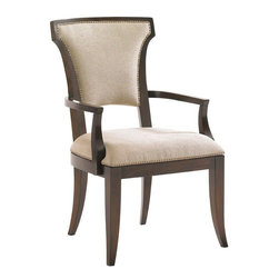 Lexington - Lexington Tower Place Seneca Upholstered Arm Chair - This chair's elegant design is featured in the standard fabric, Kendall - a contemporary cobblestone pattern in rose gold with a soft luster. Decorative nailhead trim also adorns the back and seat. Custom fabrics may be applied, see store for details.