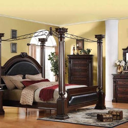 Acme Furniture - Roman Empire Cherry Finish 5 Piece King Bedroom Set - 19333EK-5 - Set includes Eastern King Bed, Dresser, Mirror, Nightstand and Chest