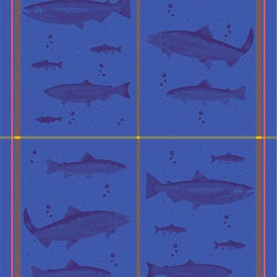 "Mierco Inc. - Tea Towel Fish Blue - 8R Fish Blue- Tea Towel 20x28"". Heavy luscious jacquard, woven in Portugal. Wash in warm water, tumble dry."