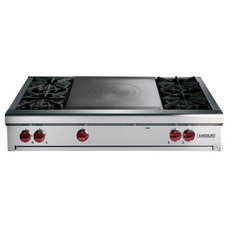 "contemporary cooktops 48"" Wolf Pro-Style Gas Rangetop with 8 Open Burners"