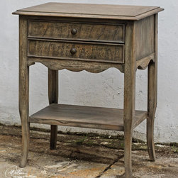 Uttermost - Uttermost Doherty Driftwood Side Table - Casual  Weathered Driftwood Finish On Open-grained  Plantation Mango Wood Featuring Scrolled Apron Details  A Gallery Shelf And Two Drawers Accented By Antiqued Brass Knobs.