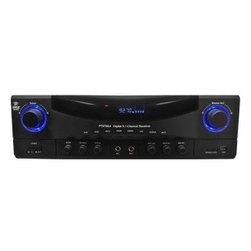PYLE - Pyle PT570AU 5.1 Channel 350W Amplifier Receiver with Built-In AM-FM Radio, USB - Powerful Home Receiver - This digital 5. 1 channel home receiver packs a massive 350 Watt Power output at 4 Ohm! The brilliant VFD displays clear and vivid information and built-in AM/FM Radio can store up to 12 Radio station presets. Add some attitude to your home theater system with the PT570AU. Play it All - Play media from connected devices such as CD players and recorders, tape decks, DVD players and much more with a total of 3 Stereo RCA inputs. SD memory and USB ports located on the front of the unit will let you instantly play your favorite media. Drag your files onto your portable memory device from your computer media library, like iTunes, and you'll be enjoying the sweet sounds through this pre-amp in no time. The Perfect Party Machine - (2) 1/4-inch microphone inputs located conveniently on the face of the unit let you turn your home theater system into an awesome karaoke party with ease. Customize Your Sound - The control center on the face of the unit will let you create a custom and truly personal sound. Make independent changes to mic volume, echo, treble and bass controls so whether you are listening to some subtle jazz or rocking out to some heavy metal this receiver has you covered.