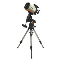 "Celestron CGEM 8 Inch Edge HD Optics Telescope - The CGEM 800 HD combines Celestron's newly designed CGEM Computerized Equatorial mount with its new EdgeHD optical system. With over 8 inches of aperture and our premium StarBright XLT coatings the CGEM 800 HD gives you over 800 times the light gathering power than the unaided eye. Supporting an optical tube of only 13 lbs the CGEM 800 HD is the lightest and most portable in its class. New Optical DesignThe EdgeHD optical system combines all the compact power popularized by the SCT and combines it with an improved high definition optical system for wide field astrograph quality images. As a visual instrument EdgeHD optics delivers pinpoint images even with your widest field eyepiece. You can search for all of the Messier Catalog objects and see hundreds of other equally interesting NGC IC and Caldwell objects with amazing clarity. For astroimaging the EdgeHD optics produce aberration-free images across your favorite CCD or DSLR camera. All EdgeHD optics are designed to produce an extremely flat focal plane precise enough to match the strict tolerances of the largest commercial CCD detectors allowing all stars to be in tight focus to the very edge of the chip. Diffraction LimitedSome companies boast that their telescopes give diffraction limited stars in the very center of the field of view. EdgeHD optics not only produce diffraction limited stars on axis but maintain diffraction limited stars across the entire field of view of many of the most popular astrophotography cameras. Even at the very edge of a DX format camera chip the EdgeHD 8"""" delivers star sizes of less than 1.5 arc seconds. Along with the newly designed optics the EdgeHD also has re-designed mechanics guaranteed to help you get the maximum performance from your instrument. Features Include: Mirror Locks – To hold the mirror in place and reduce image shift during imaging. Tube Vents - Each vent has an integrated 60 micron micro-mesh filter allowing hot air to be released from behind the primary mirror. Fastar Versatility – All EdgeHD optical tubes are equipped with a removable secondary mirror for fast f/2 CCD imaging. Not only does imaging in the FASTAR configuration allow for exposure times that are 25 times faster than at f/10 but also yields a field of view five times wider. A perfect combination for imaging your favorite wide field objects in a fraction of the time. (FASTAR imaging requires a third party lens assembly in place of the secondary mirror). CGEM Mount The CGEM mount has a fresh attractive bold appearance and is capable of carrying Celestron's higher-end SCT optical tubes (up to 11"""") securely and vibration free which is ideal for both imaging and visual observing. Ergonomic Design - CGEM was designed to be ergonomically friendly with large Altitude and Azimuth adjustment knobs for quick and easy polar alignment adjustment. The internal RA and DEC motor wiring provides a clean look and an easy and trouble free set up. Innovation - The CGEM series has a new innovative Polar alignment procedure called All-Star™. All-Star allows users to choose any bright star while the software calculates and assists with polar alignment. Another great feature of the CGEM sure to please astroimagers is the Permanent Periodic Error Correction (PEC) which allows users to train out the worm gears periodic errors while the mount retains the PEC recordings. Performance - For objects near the Meridian (imaginary line passing from North to South) the CGEM will track well past the Meridian for uninterrupted imaging through the most ideal part of the sky. The CGEM mount has a robust database with over 40 000 objects 100 user defined programmable objects and enhanced information on over 200 objects. Celestron's CGEM mount is the perfect fit between the Advanced Series and CGE Series. Offering the portability of the Advanced Series and the precision of the CGE. General Features 8"""" EdgeHD Optics CGEM Computerized Equatorial Mount Celestron's premium StarBright XLT coatings 9x50 finderscope to help accurately find objects Ultra sturdy 2"""" steel tripod with Accessory Tray Star diagonal provides more comfortable viewing position when observing objects that are high in the sky HD Features New aplanatic Schmidt telescope design produces aberration-free images across a wide field of view Mirror tension locks hold the primary mirror in place and reduce image shift Cooling vents allow hot air to be released from behind the primary mirror Fastar compatible for fast f/2 imaging Computerized Mount Features Proven NexStar computer control technology 40 000 object database with over 100 user-definable objects and expanded information on over 200 objects Redesigned electronics deliver constant regulated power to the motors making them capable of driving the telescope even when not perfectly balanced. New """"All-star"""" Polar alignment uses any bright star for a quick and accurate Polar alignment Software Features include: Mount Calibration Database Filter Limits Hibernate five Alignment Procedures Flash upgradeable hand control software and motor control units for downloading product updates over the Internet Meridian preference for slewing - allows you to approach an object from the side of the Meridian that maximizes tracking (and imaging) time. Solar System alignment method - allows you to align your telescope and view the moon and planets during the day Custom Rate 9 feature allows you set maximum slew rate Tandem mode allows you to star align the mount even when positioned for tandem scope use. Custom database lists of all the most famous deep-sky objects by name and catalog number: the most beautiful double triple and quadruple stars; variable stars; solar system objects and asterisms Permanent Programmable Periodic Error Correction (PEC) - corrects for periodic tracking errors inherent to all worm drives Drive Motors - Low Cog DC Servo motor with integrated optical encoders offer smooth quiet operation and long life. The motor armatures are skewed to minimize cogging which is required for low speed tracking Internal Cable wiring for trouble-free setup and transportation Designated six-pin RJ-12 modular jack ST-4 compatible guide port Autoguide port and Auxiliary ports located on the electronic plate for long exposure astrophotography Double-line 16-character Liquid Crystal Display Hand Control with backlit LED buttons for easy operation of goto features RS-232 communication port on hand to control the telescope via a personal computer Includes NexRemote telescope control software for advanced control of your telescope via computer GPS compatible with optional SkySync GPS Accessory Precision machined 40 mm diameter steel Polar shafts supported by multiple tapered roller bearings and ball bearings. Secure power plug ensures that the mount's power source is not accidentally disconnected Celestron All-Star Polar Alignment Technology All-Star Polar Alignment TechnologyGerman Equatorial Mounts (GEM) have long since been recognized as the mount of choice for astrophotography. Needing to track in only one axis for long exposures; adjustable counterweights and tube position for perfect balance the GEM has few short comings when it comes to imaging. In order to do long-exposure astro-imaging an equatorially aligned telescope is needed to allow your telescope to properly track the motion of the sky. However accurate tracking still depends on an accurate polar alignment. Even with a visible star very near the North Celestial Pole (NCP) the true celestial pole can be a very elusive place to find without assistance. Now select Celestron mounts can utilize a new innovative Polar alignment procedure called All-Star™. All-Star allows users to choose any bright star while the software calculates and assists with polar alignment. Here's how it works. Once your telescope is aligned with two bright star All-Star allows you to choose any bright star listed in the NexStar hand control to assist in accurately aligning your telescope's mount with the North Celestial Pole. Using the telescope's Sync function the mount is able to point and center a bright star with a high degree of accuracy. Once centered the mount will point the telescope to the exact position that the star should be if the mount were precisely polar aligned. By simply adjusting the mounts altitude and azimuth controls to re-center the star in the center of the eyepiece you are actually moving the mounts polar axis to the exact position of the North Celestial Pole. FAQ Can I use Polaris to polar align my telescope?Since Polaris is very close to the NCP and not very bright it is actually not a recommended star for the """"All-Star"""" method. The advantages of being able to use stars other than Polaris are two fold: Polaris is not always visible. So not only can you use a variety of other stars but they are also brighter and more prominent.The star you choose will be farther away from the NCP thus allowing for greater accuracy when centering the star in your eyepiece. Which stars are best to use for polar aligning?For best results choose a bright alignment star that is near the Meridian preferably close to the celestial equator. Try to avoid stars that are close to the west/east horizon or directly overhead because they can be more difficult to center using the mount's altitude and azimuth controls. Also stars too near the celestial pole are less accurate than those further away. Will I lose my alignment after I polar align?No the mount will retain its alignment but some amount of accuracy may be compromised depending on how much the mount has been moved during polar alignment. Although the telscopes tracking may be very good pointing accuracy may need to be improved especially if you are trying to located small objects on a ccd chip. What are the steps to polar align my telescope using """"All-Star"""" polar alignment? Align the telescope with the sky using the """"Two-Star Alignment"""" method. Select a suitable bright star from the Hand Control's database and slew the telescope to the star. Press the Align button and select Polar Align => Align Mount from the list. The telescope will then re-slew to the alignment star and ask you to center it in the eyepiece in order to """"Sync"""" on the star. The telescope will slew to the position that the star should be if it were accurately polar aligned. Use the mounts altitude and azimuth adjustments to place the star in the center of the eyepiece and press the Align button. Update the telescope's star alignment if necessary."