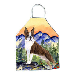 Caroline's Treasures - Boston Terrier Apron SS8162APRON - Apron, Bib Style, 27 in H x 31 in W; 100 percent  Ultra Spun Poly, White, braided nylon tie straps, sewn cloth neckband. These bib style aprons are not just for cooking - they are also great for cleaning, gardening, art projects, and other activities, too!