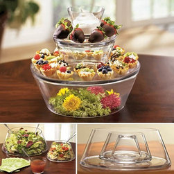 Three-Tier Server - This three-tiered server can be used for salads and dressing or stacked for side dishes, appetizers and other finger foods.