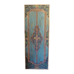 Pre-owned Indonesian Style Door Panel - The blueish-green color and carved and painted floral details of this five foot tall decorative door panel are stunning, and typical of the Indonesian Island style. Casual yet elegant, beautiful and cool, it also has double hangers on the back and brass door handles. This vintage door panel has age appropriate wear, which is not obvious upon first appearance.    Please note, there are two of these door panels available. If you are interested in purchasing both, please email: support@chairish.com.